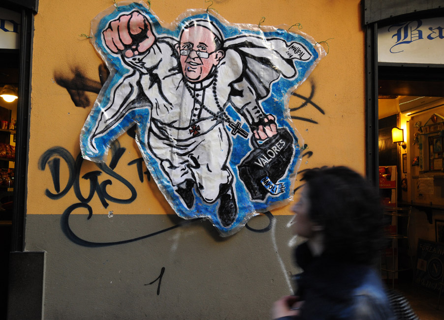 ITALY-CULTURE-PAINTING-POPE-SUPERMAN