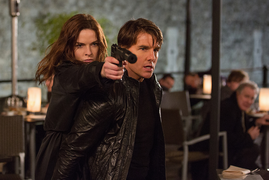"STRICTLY EMBARGOED: 8:00am PST March 22, 2015 Rebecca Ferguson and Tom Cruise in a scene from the motion picture ""Mission Impossible 5."" Credit: Chiabella James, Paramount Pictures [Via MerlinFTP Drop]"